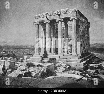 Nike temple on the Acropolis in Athens, Greece, photo from 1875  /  Niketempel auf der Akropolis in Athen, Griechenland, Foto aus 1875, Historisch, historical, digital improved reproduction of an original from the 19th century / digitale Reproduktion einer Originalvorlage aus dem 19. Jahrhundert, Stock Photo