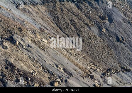 full frame hillside spoil heap scenery - Stock Photo