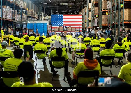 President Donald J. Trump delivers remarks Thursday, May 14, 2020, at Owens & Minor Inc. Distribution Center in Allentown, PA. (USA) - Stock Photo