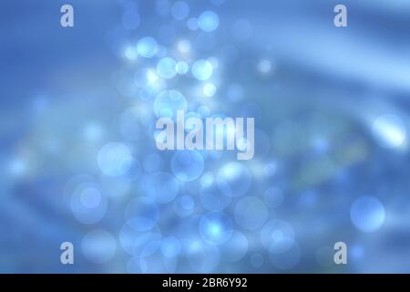 Underwater world. Abstract blue lightening bokeh circles from unterwater bubbles. Beautiful blue illustration.
