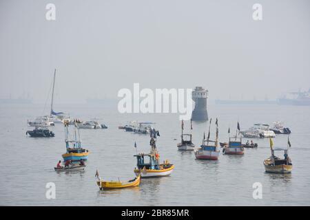 Boats in the bay near the Gateway of India, Colaba, Maharashtra, India.