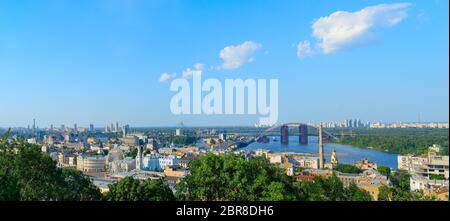 Panorama of Kiev. Podil district, Dnipro river, new bridge - Stock Photo