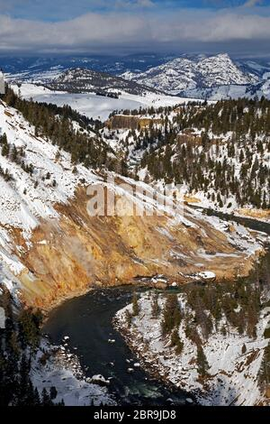 WY04537-00....WYOMING - Yellowstone River and Calcite Springs viewed from Calcite Springs Overlook in Yellowstone National Park. - Stock Photo