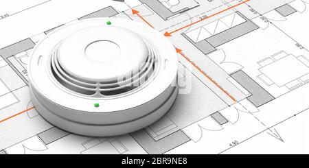 A Smoke Detector Is On A Floor Plan Stock Photo Alamy