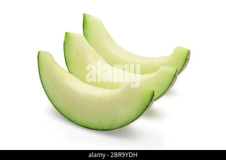 Organic japanese cantaloup melon slices with seedless on white isolated background with clipping path. Ripe honeydew cantaloup melon have sweet taste - Stock Photo
