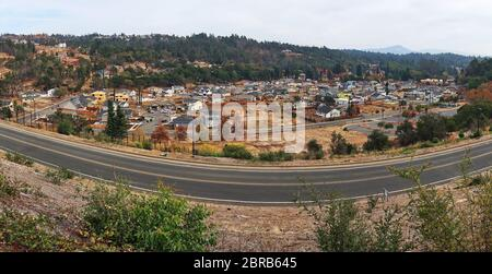 Panoramic view of Parker Hill residential community in Santa Rosa that was destroyed by Tubbs Fire. Major construction and rebuilding of houses. - Stock Photo