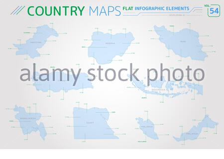 Flat vector maps collection with infographic elements. - Stock Photo