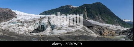 West Glacier Trail, Tongass National Forest, Juneau, Alaska, USA, winds through forests to the west Mendenhall Glacier where climbers traverse the ice - Stock Photo
