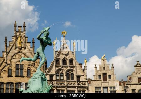 Antwerp, Flanders, Belgium. August 2019. The town hall square, overlook the most beautiful buildings in the city. Detail of the Brabone fountain, dedi - Stock Photo