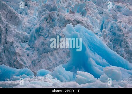 Icebergs calved from South Sawyer Glacier float down scenic Tracy Arm Fjord, Southeast Alaska, USA.