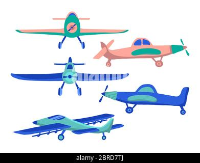 Set Airplane in cartoon hand drawn style isolated on white background. Set of agricultural aircraft vector icons for kids playing, web design, print o - Stock Photo