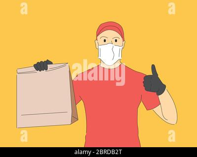 Delivery man wearing a mask. Covid-19 - Stock Photo