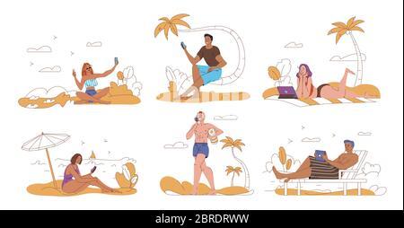 People tourist surfing internet rest on beach - Stock Photo
