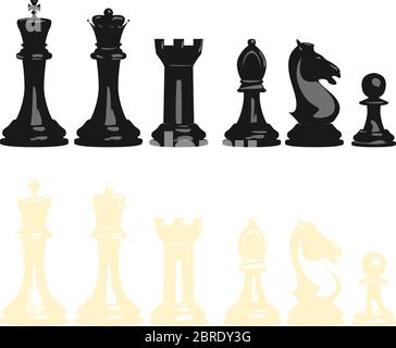 Vector illustration set of chess pieces, blacks and whites, contains all pieces: king, queen, tower, bishop, knight and pawn. - Stock Photo