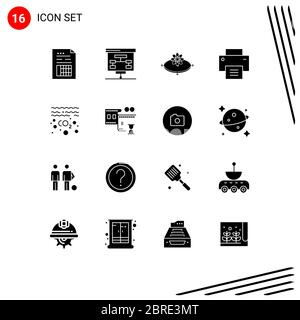 Solid Glyph Pack of 16 Universal Symbols of user, interface, statistics, basic, innovation Editable Vector Design Elements - Stock Photo