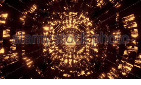 abstract reflection background with golden tringle wireframe design 3d rendering wallpaper, - Stock Photo