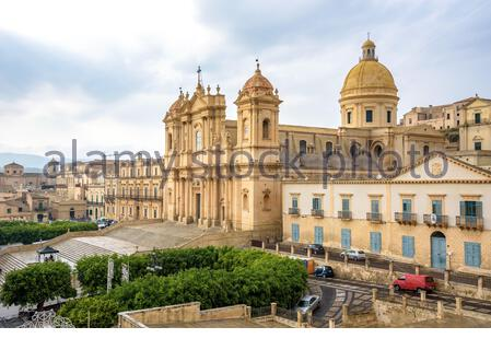Aerial view of the historic baroque cathedral called Basilica Minore di San Nicolo - Stock Photo