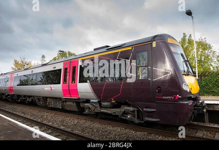 Turbostar passenger train in Crosscountry Trains livery waiting at a railway station in the UK. - Stock Photo