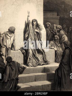 Deborah Praises Jael, Old Testament, Gustave Doré, 1863 - Stock Photo