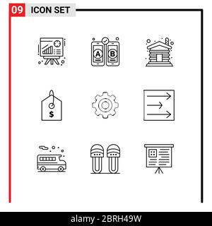 9 Universal Outlines Set for Web and Mobile Applications wheel, general, wood, basic, product Editable Vector Design Elements - Stock Photo