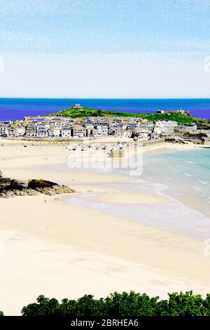 St Ives harbour overlooking Porthminster bay. - Stock Photo