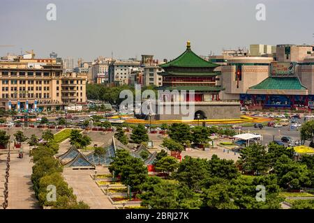 Xian / China - August 3, 2015: The Bell Tower of Xian, built in 1384 during the early Ming Dynasty, symbol of the city of Xian, Shaanxi Province, Chin - Stock Photo