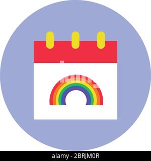 calendar with rainbow icon over white background, block style vector illustration - Stock Photo