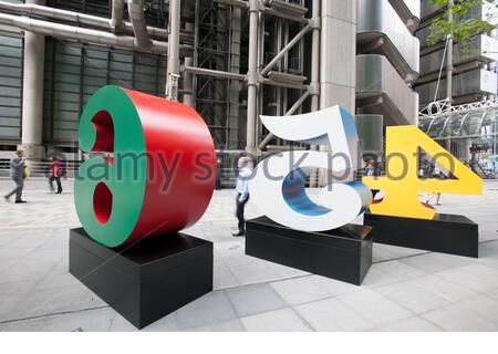 One Through Zero (The Ten Numbers) - Robert Indiana - Sculpture in the City 2013 - Stock Photo