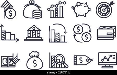 line style icon set design, economy finance and money theme Vector illustration - Stock Photo
