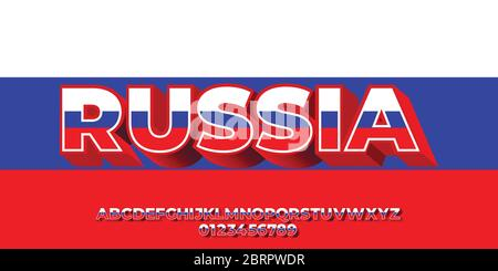 Russia flag color text 3d templates - Stock Photo