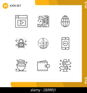 Pictogram Set of 9 Simple Outlines of seo, business, holiday, bar, chart Editable Vector Design Elements - Stock Photo