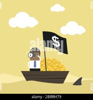 African businessman on money boat watching through telescope.