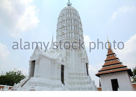 Ancient Pagoda at Wat Phutthaisawan Temple in Ayutthaya, Thailand. - Stock Photo