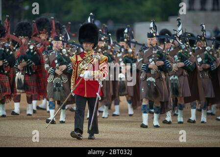Beating Retreat on 14th June 2017 in Horse Guards Parade, London, UK - Stock Photo