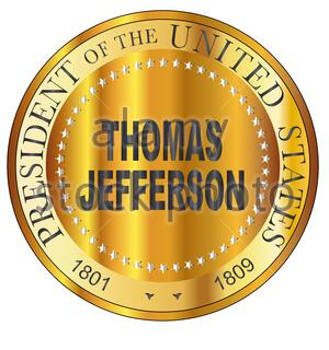 Thomas Jefferson president of the United States of America round stamp - Stock Photo
