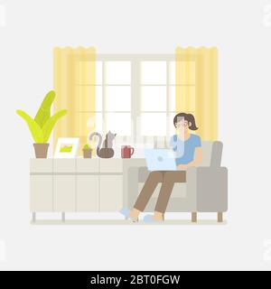 Young woman in casual clothing working at home with laptop computer on armchair in a living room interior with window, curtain, cabinet, picture frame - Stock Photo