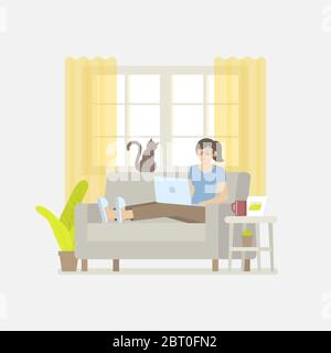 Young woman in casual clothing working at home with laptop computer on sofa in cozy living room with windows, curtain, cabinet, picture frame, plant, - Stock Photo