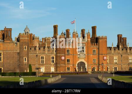 Hampton Court Palace Central Gatehouse, West Front, seen from the main entrance gate down the front drive to the Tudor brick historic palace. UK (119) - Stock Photo