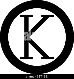 Kappa greek symbol capital letter uppercase font icon in circle round black color vector illustration flat style simple image - Stock Photo