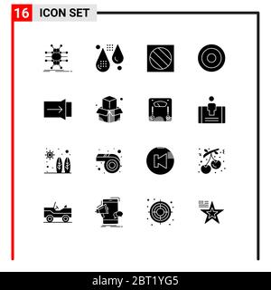 Set of 16 Commercial Solid Glyphs pack for user, interface, fitness, basic, photo Editable Vector Design Elements - Stock Photo