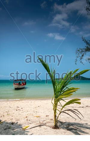 Tourist  boat in Long Beach on Koh Ta Kiev paradise island near Sihanoukville Cambodia - Stock Photo