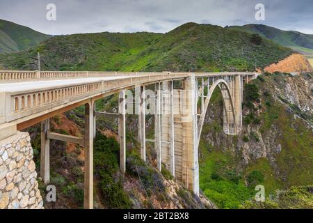 View of the Bixby Creek Bridge on the famous road number 1, Cabrillo Highway, Monterey, California, USA. - Stock Photo