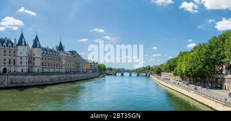 Panorama of Seine river with conciergerie and pont neuf - Paris - Stock Photo