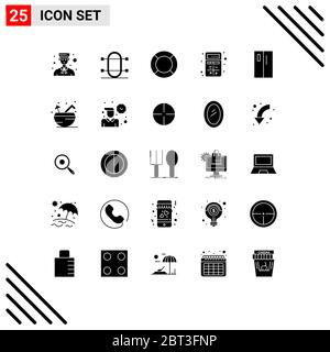 Mobile Interface Solid Glyph Set of 25 Pictograms of apps, add, rowing, ux, help Editable Vector Design Elements - Stock Photo