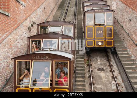 Cable Car on the Castle Hill in Budapest, Hungary - Stock Photo