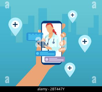 Vector of a hand holding a smartphone with a doctor on a screen and chat icons. Online medical consultation and advise service concept - Stock Photo