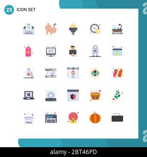 Mobile Interface Flat Color Set of 25 Pictograms of bookmark, office table, food, lamp, business Editable Vector Design Elements - Stock Photo