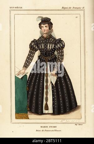 Mary Queen of Scots, Marie Stuart, queen of France and Scotland. Illustration drawn and lithographed by Madame Calon after a portrait in Roger de Gaignieres' gallery portfolio IX 4 from Le Bibliophile Jacob aka Paul Lacroix's Costumes Historiques de la France (Historical Costumes of France), Administration de Librairie, Paris, 1852. - Stock Photo