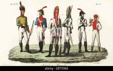 Uniforms of the Spanish Army, 1800s. Catalan light infantryman 1, artilleryman 2, grenadiers 3, other soldiers 4. Infanteria Spagnola. Handcoloured copperplate engraving by Verico after Giulio Ferrario in his Costumes Ancient and Modern of the Peoples of the World, Il Costume Antico e Modern o Story, Florence, 1829. - Stock Photo