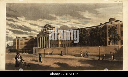Bethlem Royal Hospital or Bedlam Hospital in St. Georges Fields, Southwark, 1816. Now the Imperial War Museum. Designed by surveyor James Lewis in the neoclassical style with portico and six Doric columns. Handcoloured copperplate engraving from Rudolph Ackermanns Repository of Arts, London, 1817. - Stock Photo
